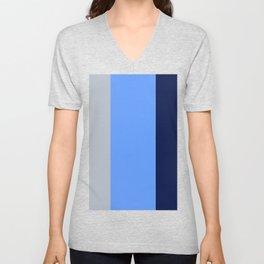 BEACH THEME TRIPLE THICK STRIPES - BLUE GREY - NAVY BLUE - LIGHT GREY  Unisex V-Neck