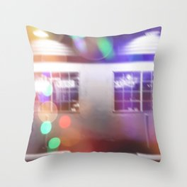 restaurant in the city with the colorful night light bokeh abstract Throw Pillow