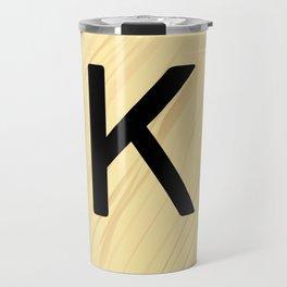 Scrabble K Decor, Scrabble Art, Large Scrabble Tile Initials Travel Mug