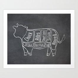 Beef Butcher Diagram (Cow Meat Chart) Art Print