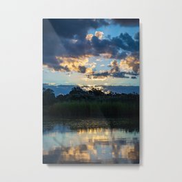 A Gorgeous Sunset Reflected in the Wetlands Metal Print