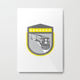 Steam Train Locomotive Retro Shield Metal Print