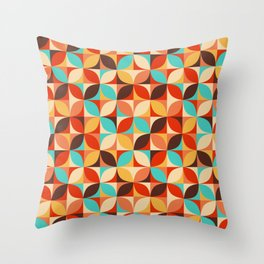 Retro style colorful circles pattern Throw Pillow
