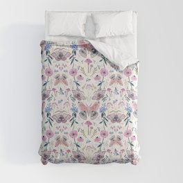 Lilac Butterfly and Flowers Comforters