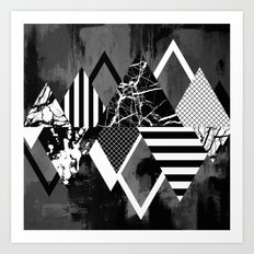 STAND OUT! In Black And White - Abstract, textured geometry! Art Print