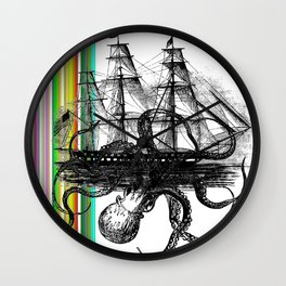 Kraken Attacking ship on Colorful Stripes Wall Clock