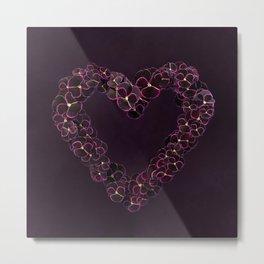 Purple Pansy Heart Metal Print