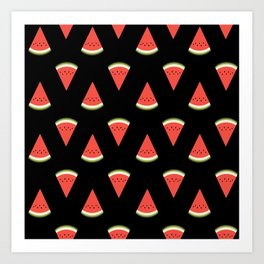 watermelon fruit stripes food fight apparel and gifts black Art Print