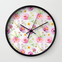Delicate Poppy Pattern On White Background Wall Clock