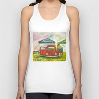 volkswagon Tank Tops featuring VW Bug - Preparing for the Show by Barb Laskey Studio