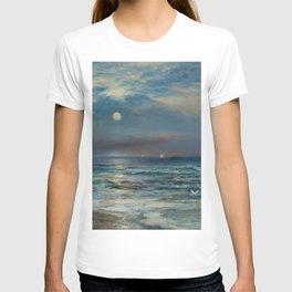 Moonlit Beach Seascape No. 2 landscape painting by Thomas Moran T-shirt