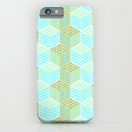 Cubes in teal and golden chevron iPhone Case