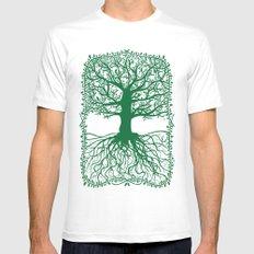 Oak tree White MEDIUM Mens Fitted Tee