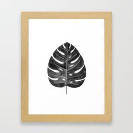 Monstera Leaf | Black and White Framed Art Print