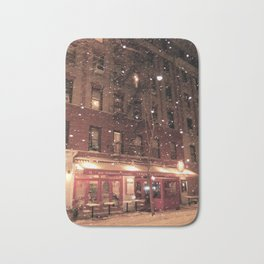 Cornelia St Cafe in the snow Bath Mat
