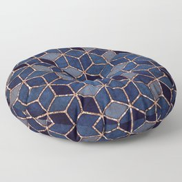 Shades Of Purple & Blue Cubes Pattern Floor Pillow