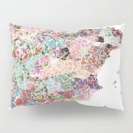 Spain map flowers composition Pillow Sham