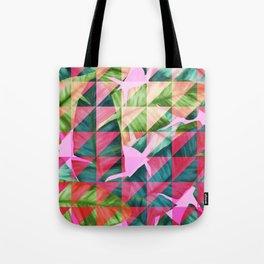 Abstract Hot Pink Banana Leaves Design Tote Bag