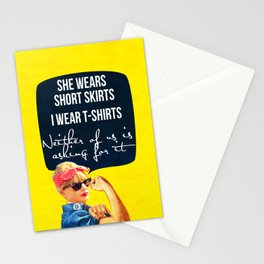 She wears short skirts, I wear t shirts Stationery Cards