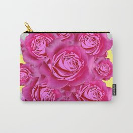 Pink Roses Fuchsia & Daisy FlowersYellow  Art Design Abstract Carry-All Pouch