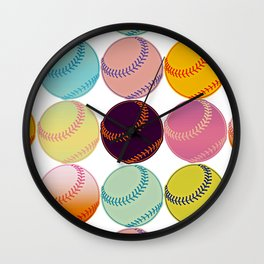 Pop Art Baseballs Wall Clock