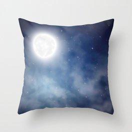 Night sky moon Throw Pillow