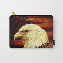Rustic Bald Eagle Bird on American Flag Heartland Americana Art A457 Carry-All Pouch