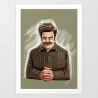 ron swanson Art Prints featuring This Guy. by Michael Jared DiMotta Illustrations