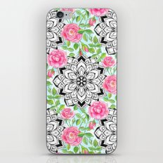 Pink Roses and Mandalas on Sky Blue Lace iPhone & iPod Skin