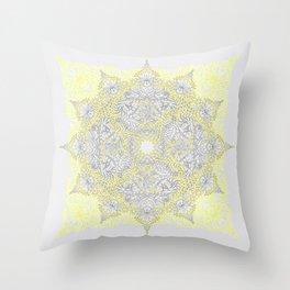 Sunny Doodle Mandala in Yellow & Grey Throw Pillow