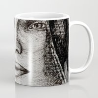 bianca green Mugs featuring Bianca Davri by Anca Chelaru