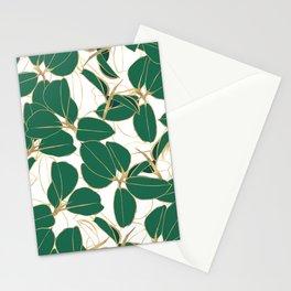 Elegant Green Gold Rubber Plant Foliage White design Stationery Cards