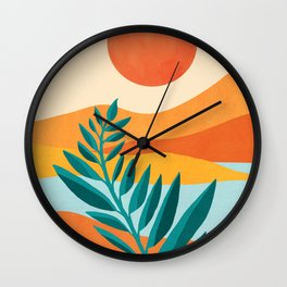 Mountain Sunset / Abstract Landscape Illustration Wall Clock