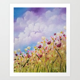 Look to the light, skyscape, landscape, flowers, wild flowers, clouds Art Print