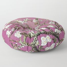 Vincent van Gogh Blossoming Almond Tree (Almond Blossoms) Fuchsia Sky Floor Pillow