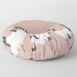 Crane Dance - Mauve Pink Floor Pillow