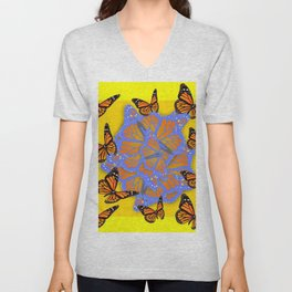 MONARCH BUTTERFLIES ABSTRACT ON YELLOW-GOLD Unisex V-Neck