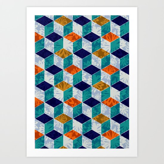 Cube Floral Art Print
