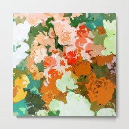 Velvet Floral, Summer Eclectic Botanical Blossom Blush Painting, Nature Colorful Garden Illustration Metal Print