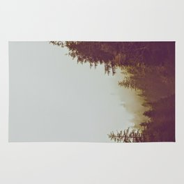 Olive Green Sepia Misty Pine Forest Landscape Photography Parallax Trees Rug