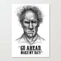 clint eastwood Canvas Prints featuring CLINT EASTWOOD  by Ani Dvaladze