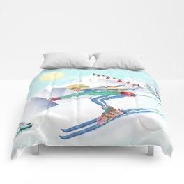 Skiing Girl Comforters