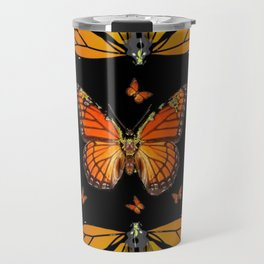 ABSTRACT ORANGE MONARCH BUTTERFLIES BLACK  PATTERNS Travel Mug