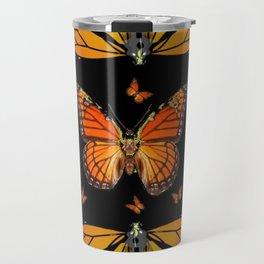 ABSTRACT ORANGE MONARCH BUTTERFLIES BLACK  PATTERNS Travel Mug