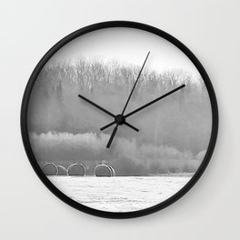 November Morning Hay Bales Wall Clock