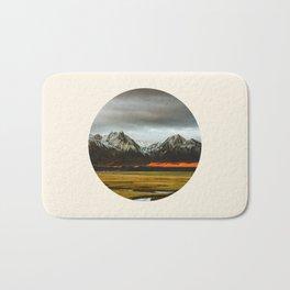 Iceland Landscape Grass Orange Sand & Grey Mountains Round Frame Photo Bath Mat