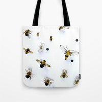 bees Tote Bags featuring Bees by AndreaClare