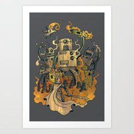 The Robots Came Out At Knight Art Print