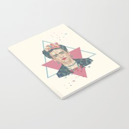 Pastel Frida - Geometric Portrait with Triangles Notebook
