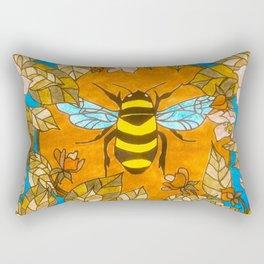 Bumblebee In Wild Rose Wreath Rectangular Pillow